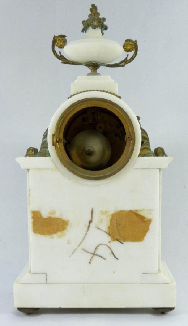 FRENCH MARBLE & BRONZE MANTLE CLOCK - 4