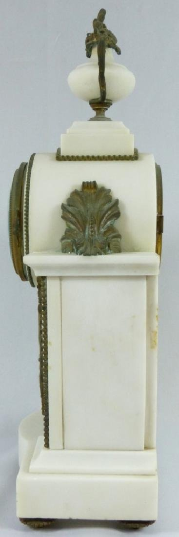 FRENCH MARBLE & BRONZE MANTLE CLOCK - 6