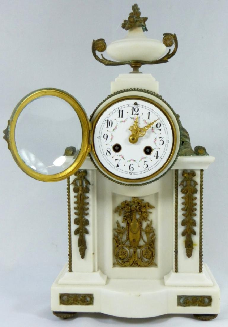 FRENCH MARBLE & BRONZE MANTLE CLOCK - 7
