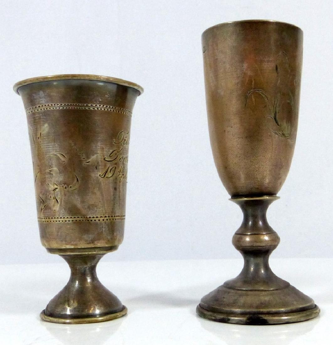 2pc RUSSIAN 84 SILVER FOOTED KIDDUSH CUPS - 2