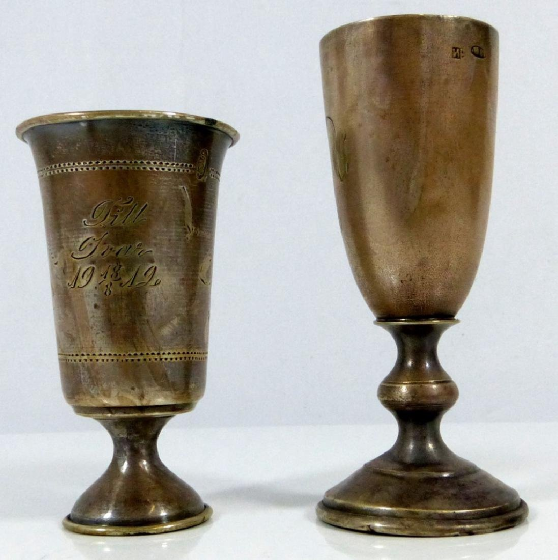 2pc RUSSIAN 84 SILVER FOOTED KIDDUSH CUPS - 3