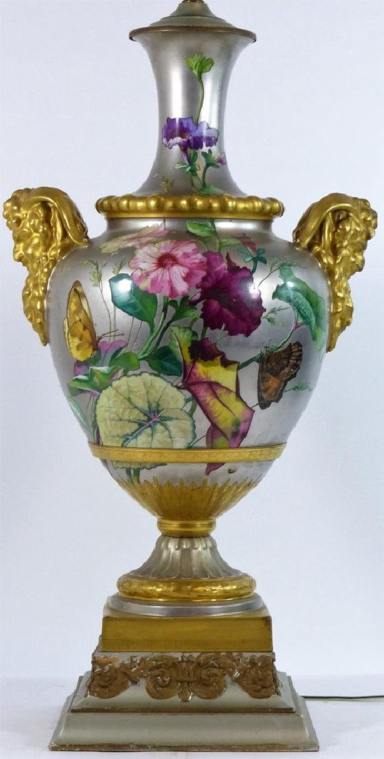 CONTINENTAL HAND PAINTED HANDLED VASE LAMP
