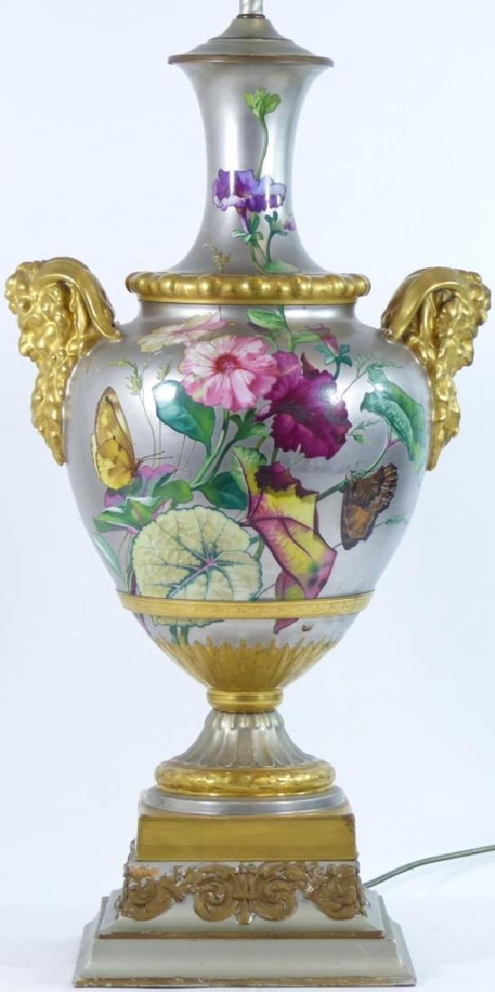 CONTINENTAL HAND PAINTED HANDLED VASE LAMP - 3