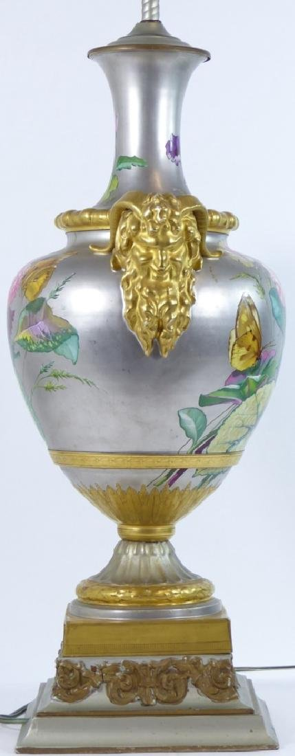 CONTINENTAL HAND PAINTED HANDLED VASE LAMP - 5