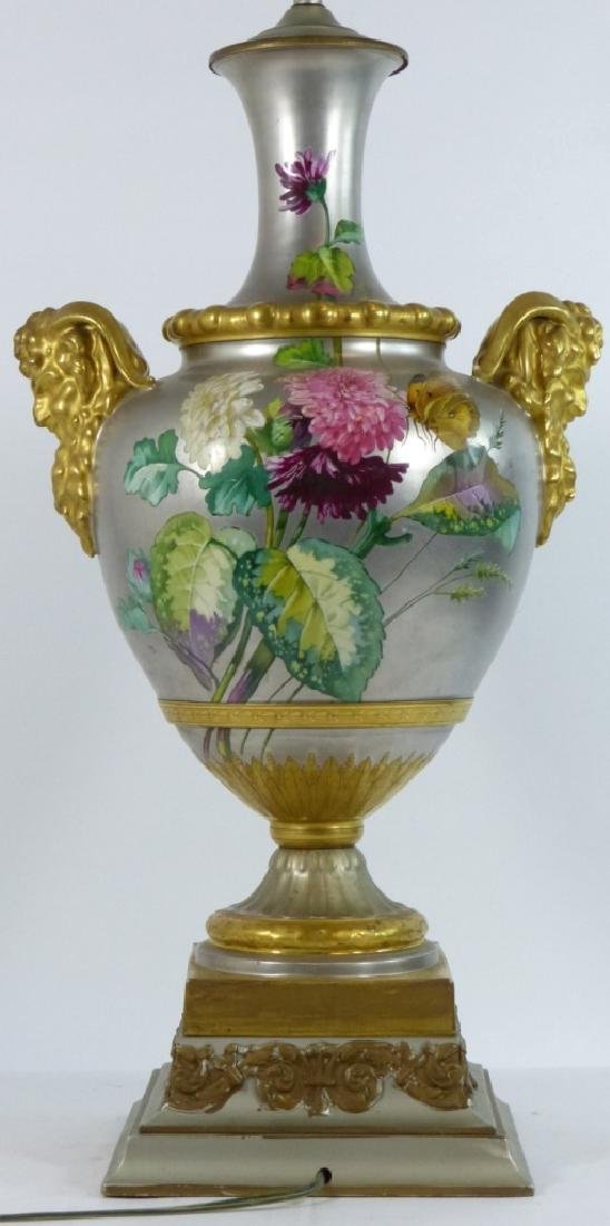 CONTINENTAL HAND PAINTED HANDLED VASE LAMP - 7