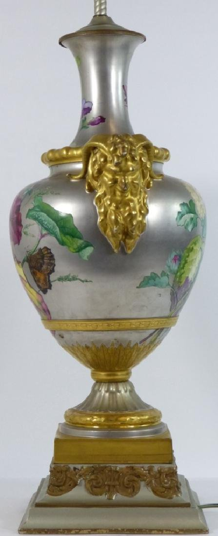CONTINENTAL HAND PAINTED HANDLED VASE LAMP - 8