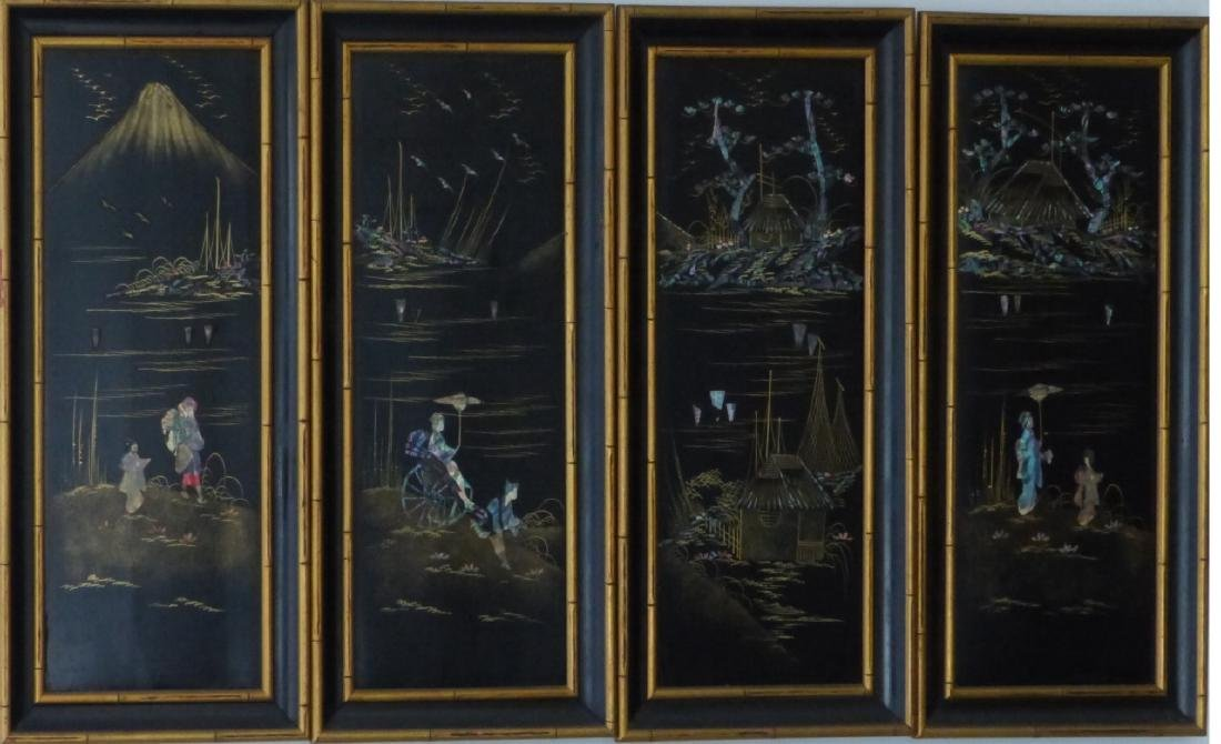 4pc CHINESE BLACK LACQUER PLAQUES w ABALONE INLAY