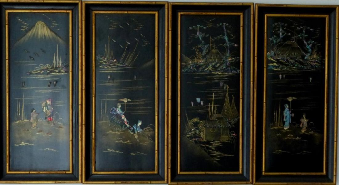 4pc CHINESE BLACK LACQUER PLAQUES w ABALONE INLAY - 7