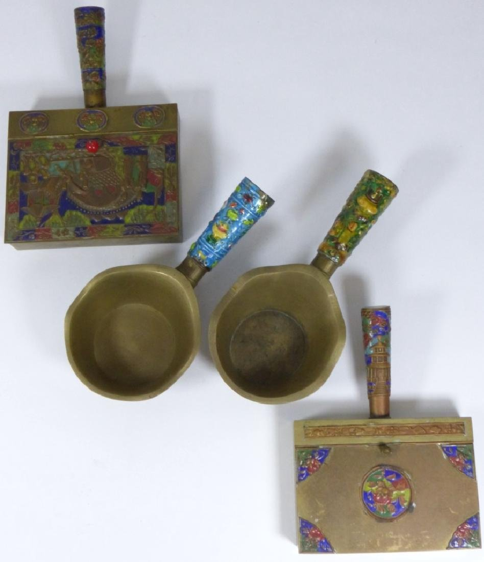 4pc CHINESE ENAMELED CLOISONNE BRASS BUTLER & IRON