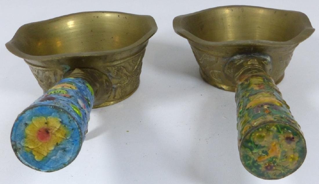 4pc CHINESE ENAMELED CLOISONNE BRASS BUTLER & IRON - 3