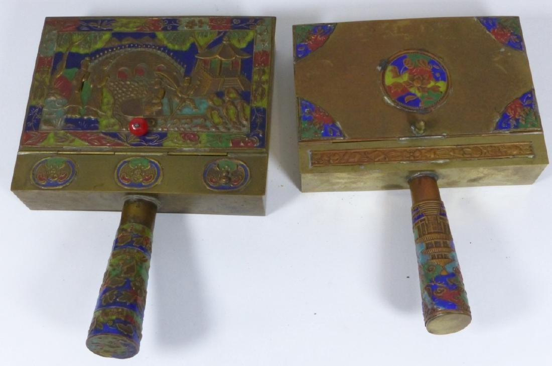 4pc CHINESE ENAMELED CLOISONNE BRASS BUTLER & IRON - 4