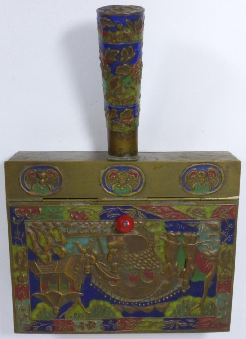 4pc CHINESE ENAMELED CLOISONNE BRASS BUTLER & IRON - 5