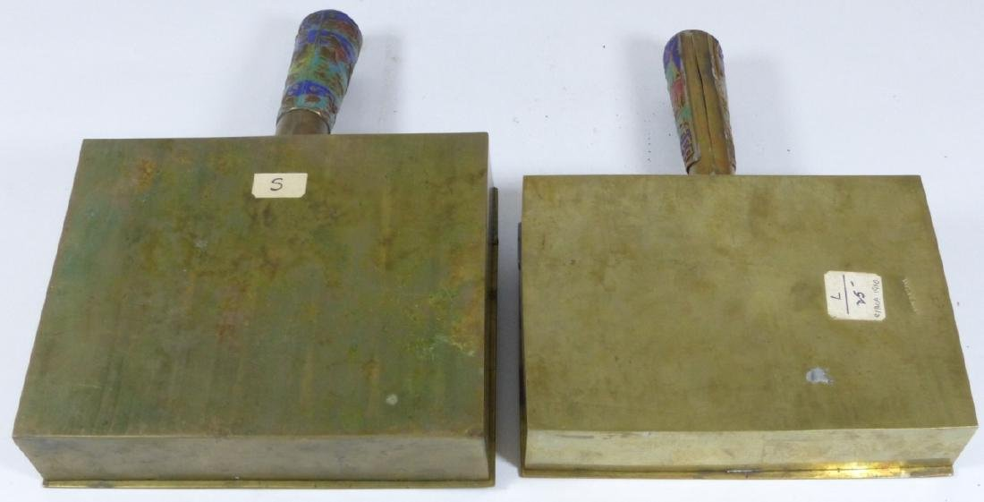 4pc CHINESE ENAMELED CLOISONNE BRASS BUTLER & IRON - 8