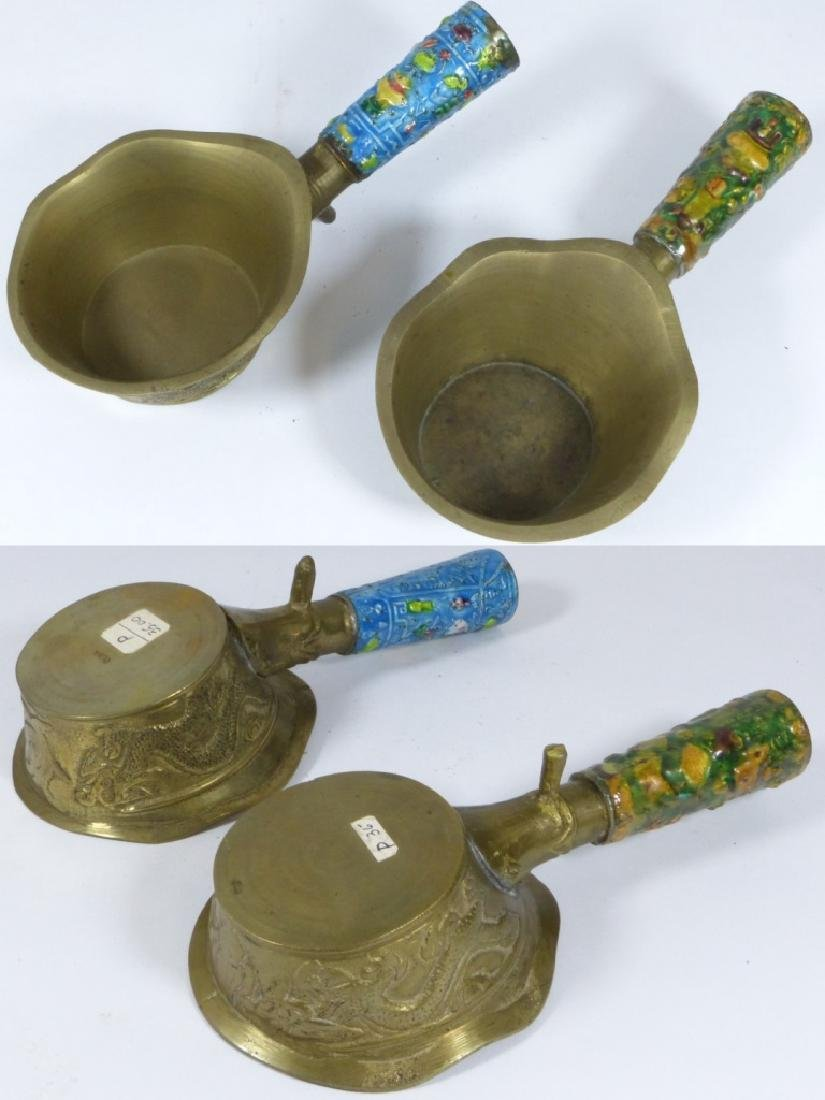 4pc CHINESE ENAMELED CLOISONNE BRASS BUTLER & IRON - 9