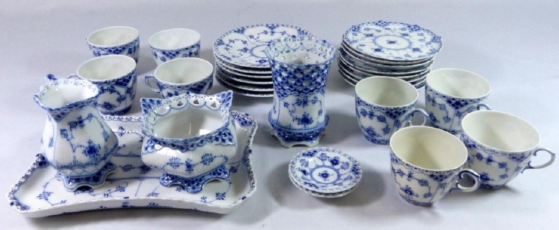 28pc ROYAL COPENHAGEN BLUE FLUTED LACE TEA SET