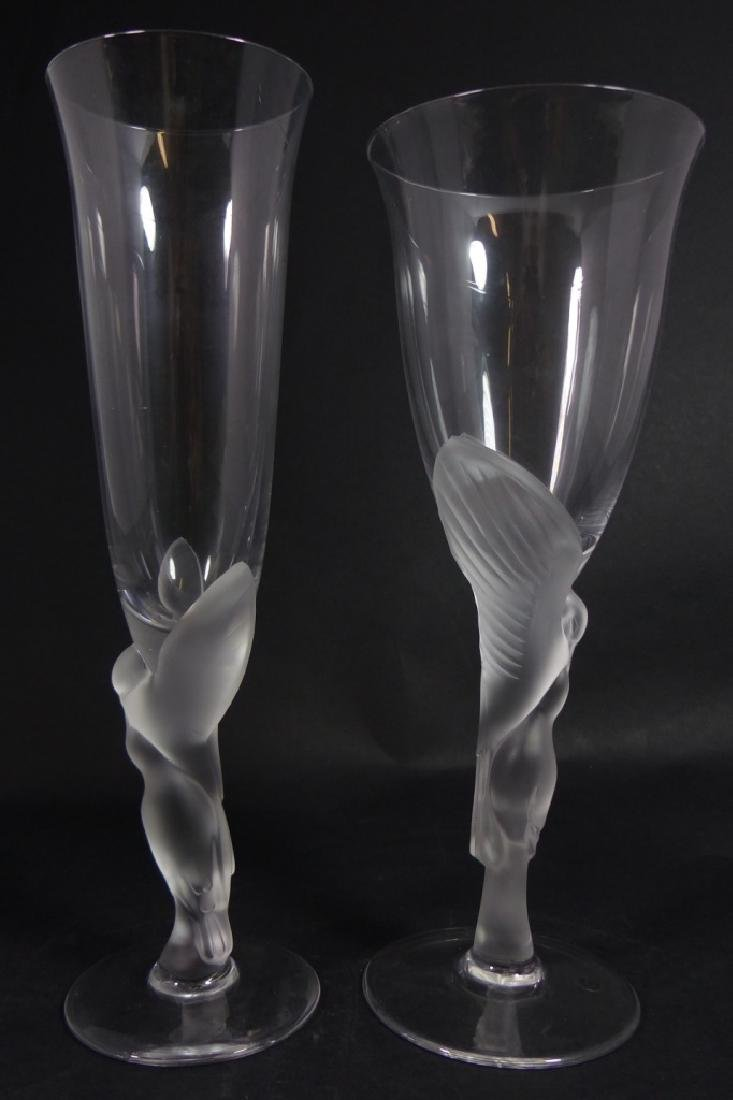 2pc FABERGE 'KISSING DOVE' CRYSTAL GOBLETS
