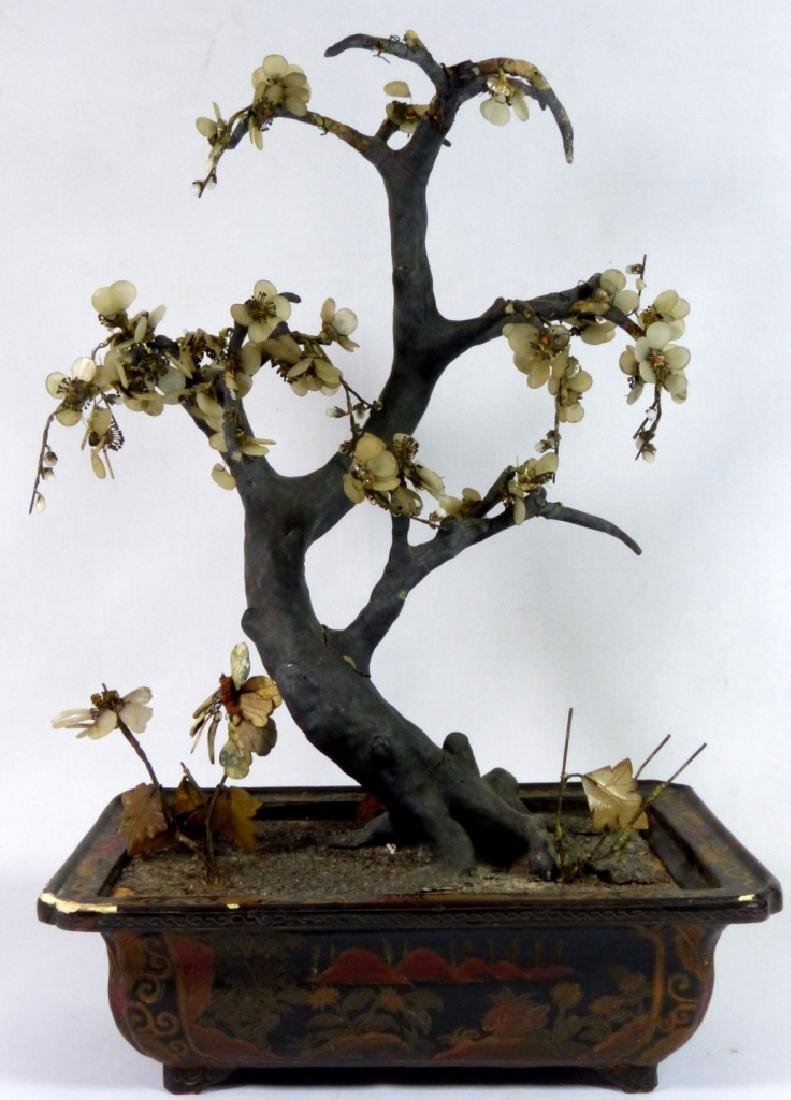 ANTIQUE CHINESE JADE TREE IN LACQUERED WOOD STAND