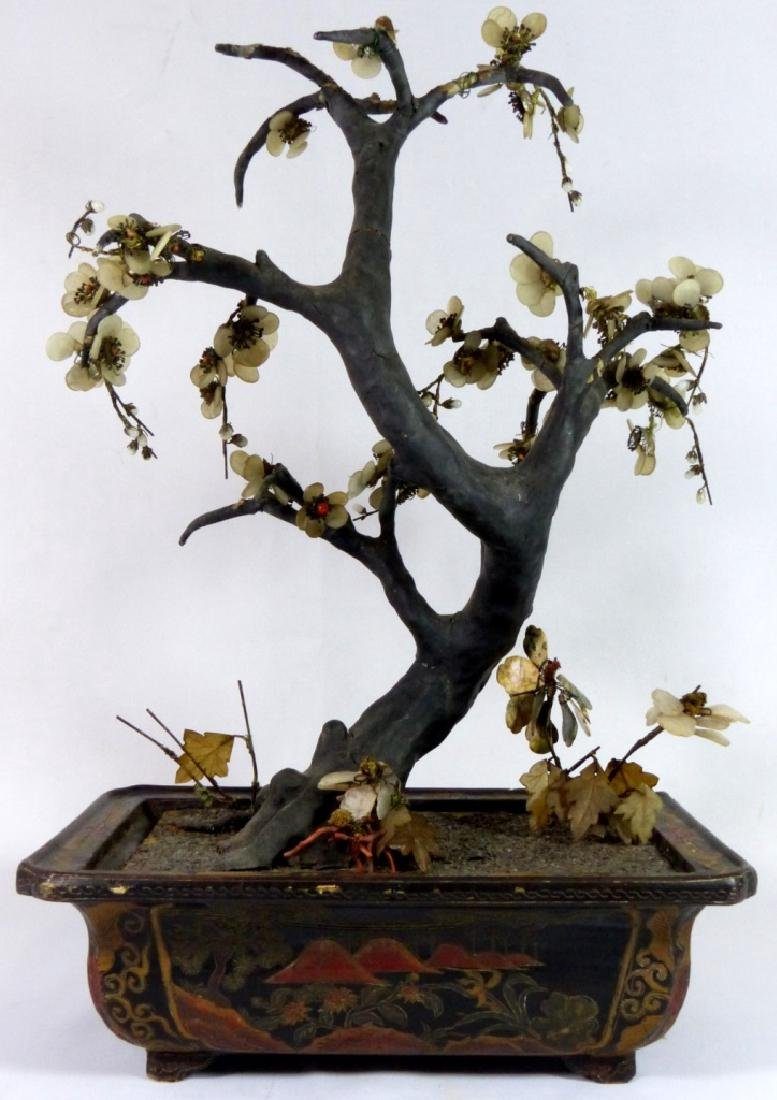ANTIQUE CHINESE JADE TREE IN LACQUERED WOOD STAND - 6