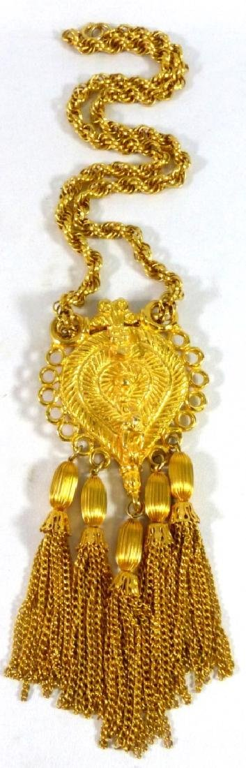 JUDITH LEIBER VINTAGE GOLD-TONE NECKLACE w PENDANT
