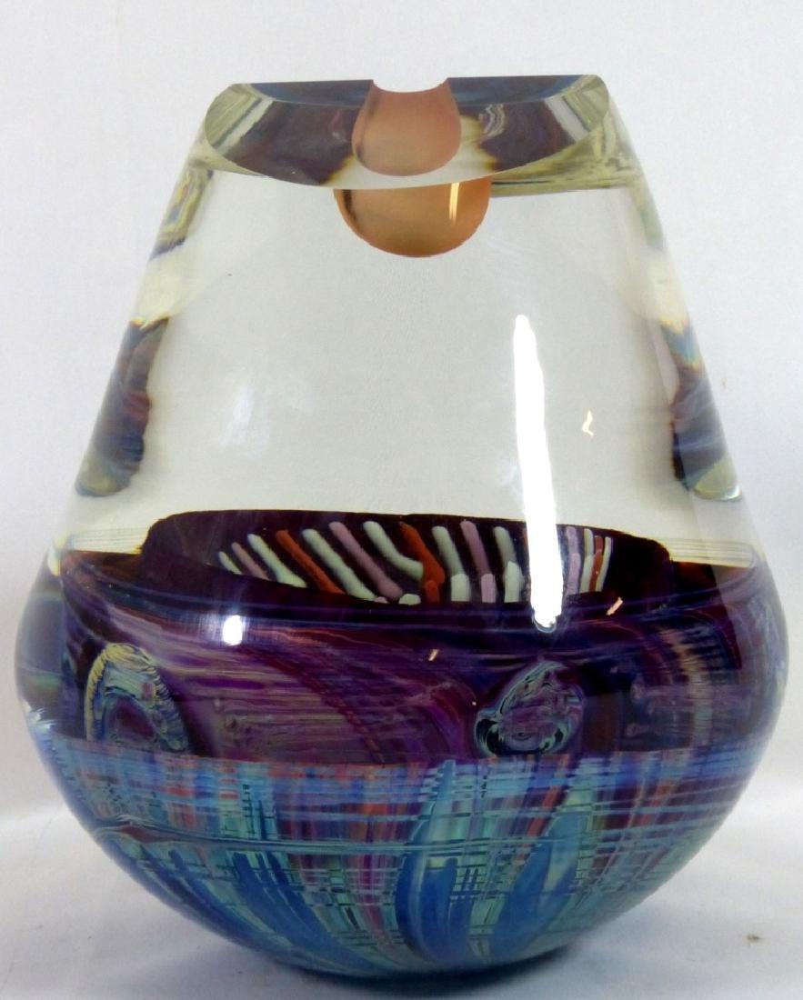 MICHAEL PAVLIK ART GLASS VASE FORM SCULPTURE