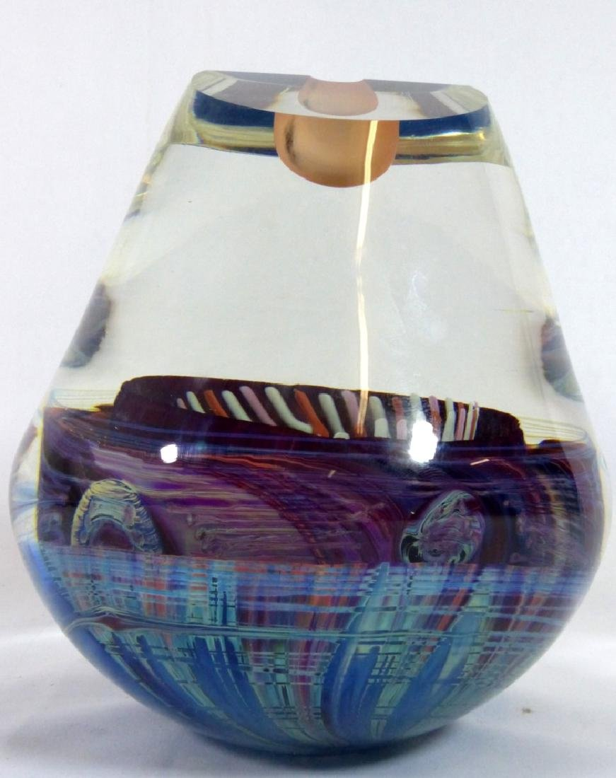 MICHAEL PAVLIK ART GLASS VASE FORM SCULPTURE - 3