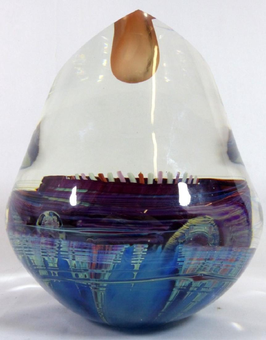 MICHAEL PAVLIK ART GLASS VASE FORM SCULPTURE - 4