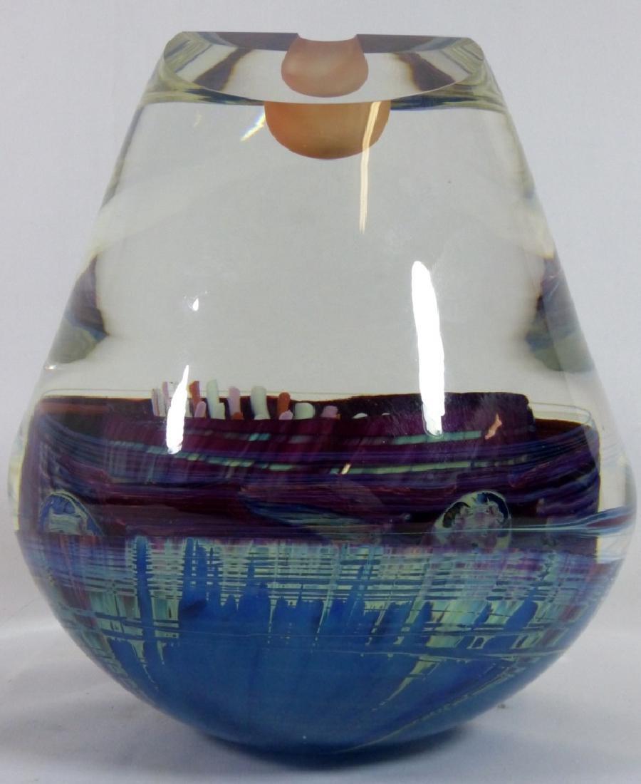 MICHAEL PAVLIK ART GLASS VASE FORM SCULPTURE - 5