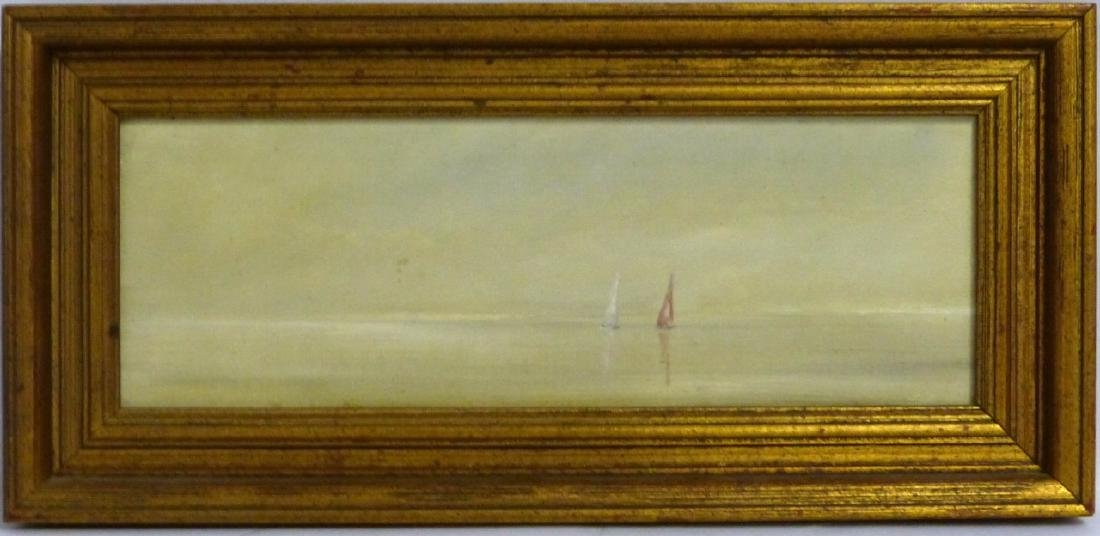 ANNE PACKARD OIL PAINTING ON BOARD 'SAILBOATS'