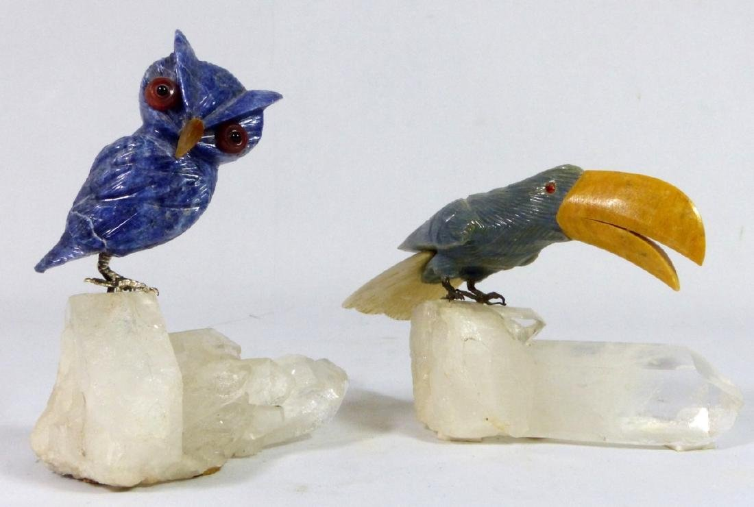 2pc CARVED STONE OWL & TOUCAN ON ROCK CRYSTAL BASE