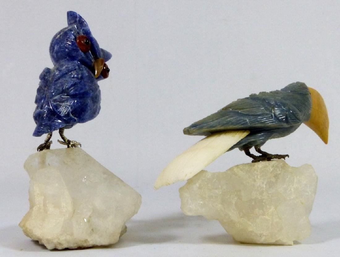 2pc CARVED STONE OWL & TOUCAN ON ROCK CRYSTAL BASE - 2