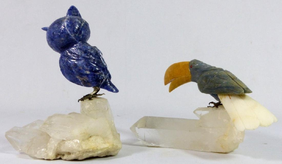 2pc CARVED STONE OWL & TOUCAN ON ROCK CRYSTAL BASE - 3
