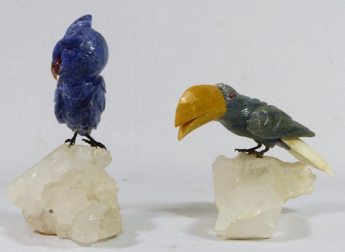 2pc CARVED STONE OWL & TOUCAN ON ROCK CRYSTAL BASE - 4