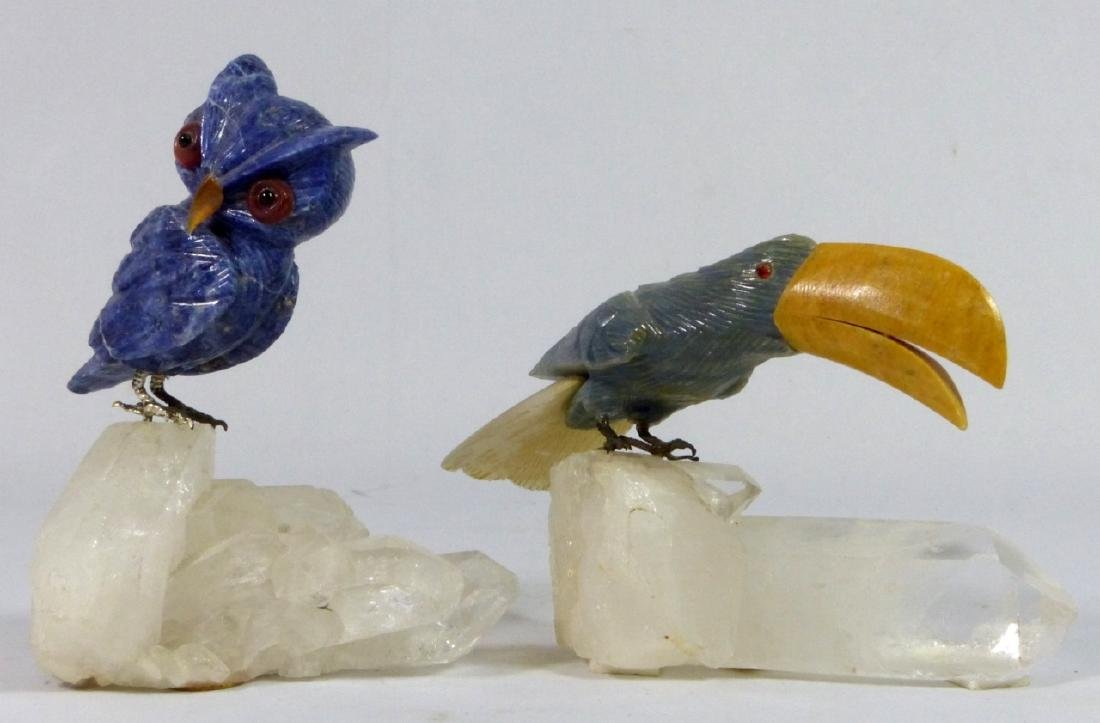 2pc CARVED STONE OWL & TOUCAN ON ROCK CRYSTAL BASE - 5