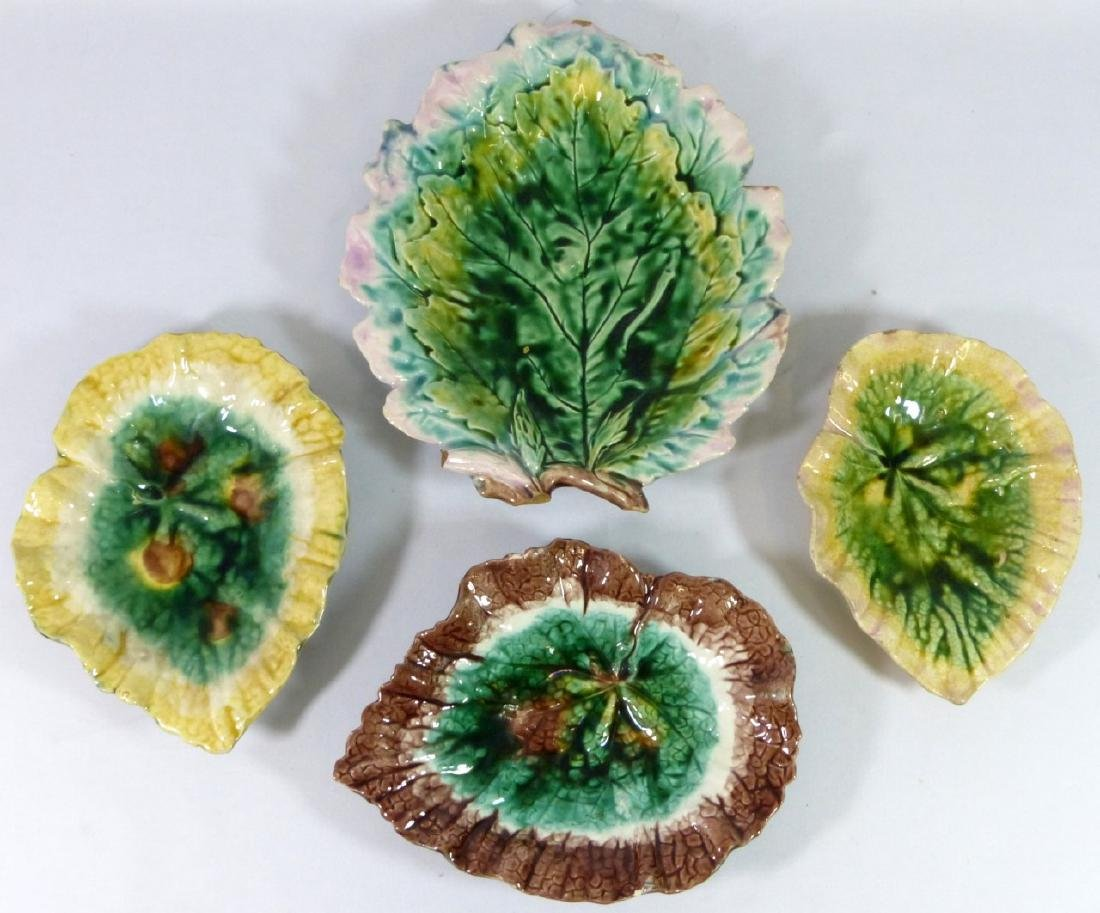 4pc ETRUSCAN MAJOLICA LEAF FORM PLATES
