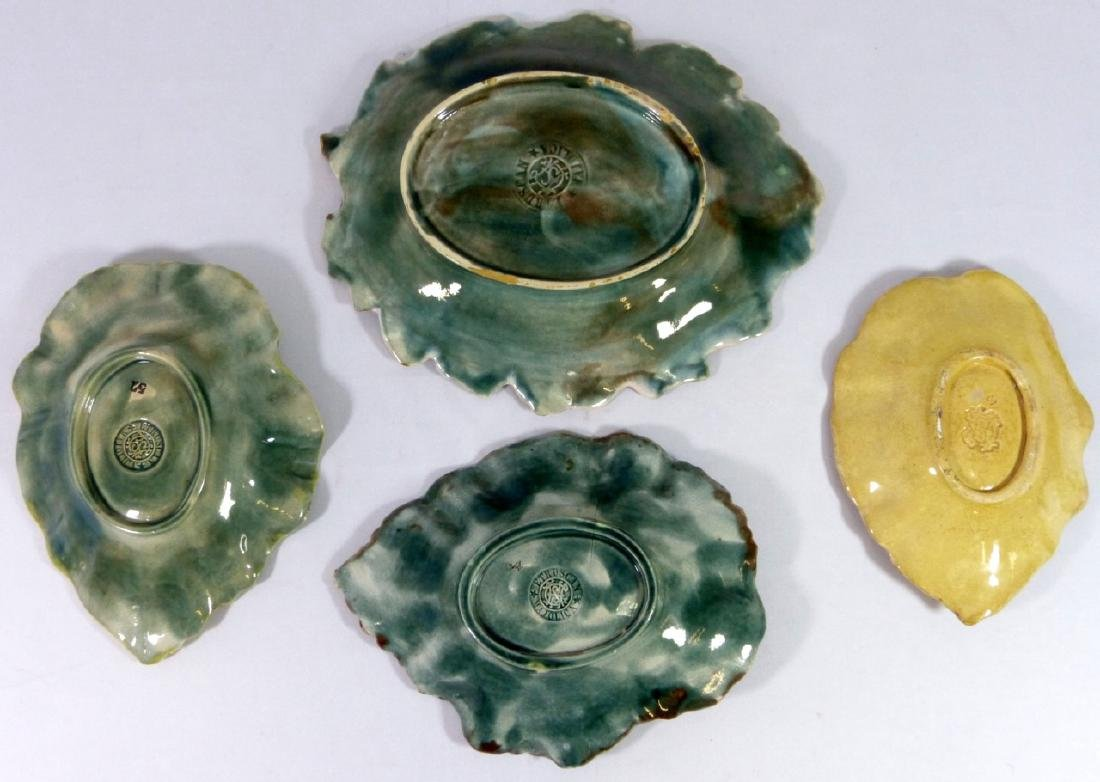 4pc ETRUSCAN MAJOLICA LEAF FORM PLATES - 2