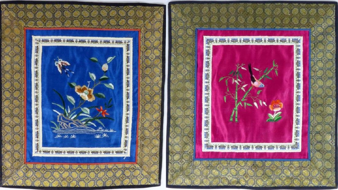 4pc CHINESE EMBROIDERED SILK PANELS - 9