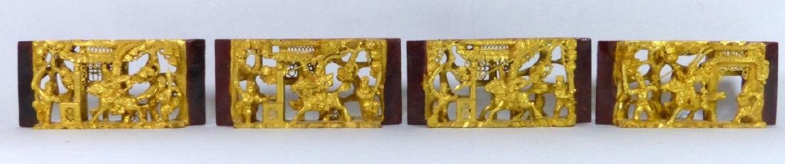 5pc CHINESE GILT & LACQUERED CARVED WOOD PLAQUES - 3