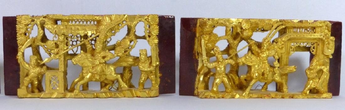 5pc CHINESE GILT & LACQUERED CARVED WOOD PLAQUES - 5