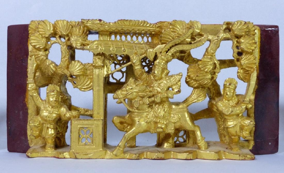 5pc CHINESE GILT & LACQUERED CARVED WOOD PLAQUES - 6