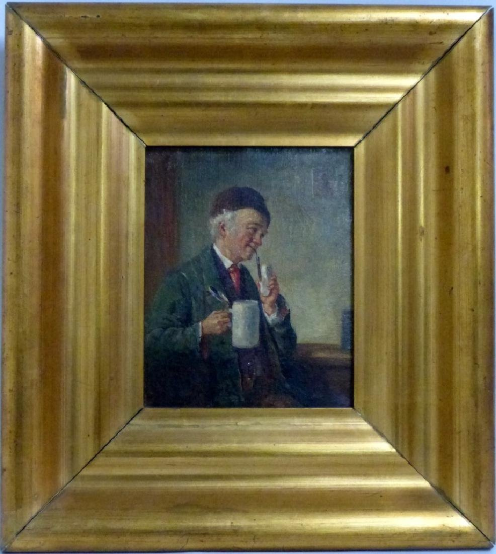 GERMAN OIL PAINTING ON CANVAS MAN w PIPE & STEIN