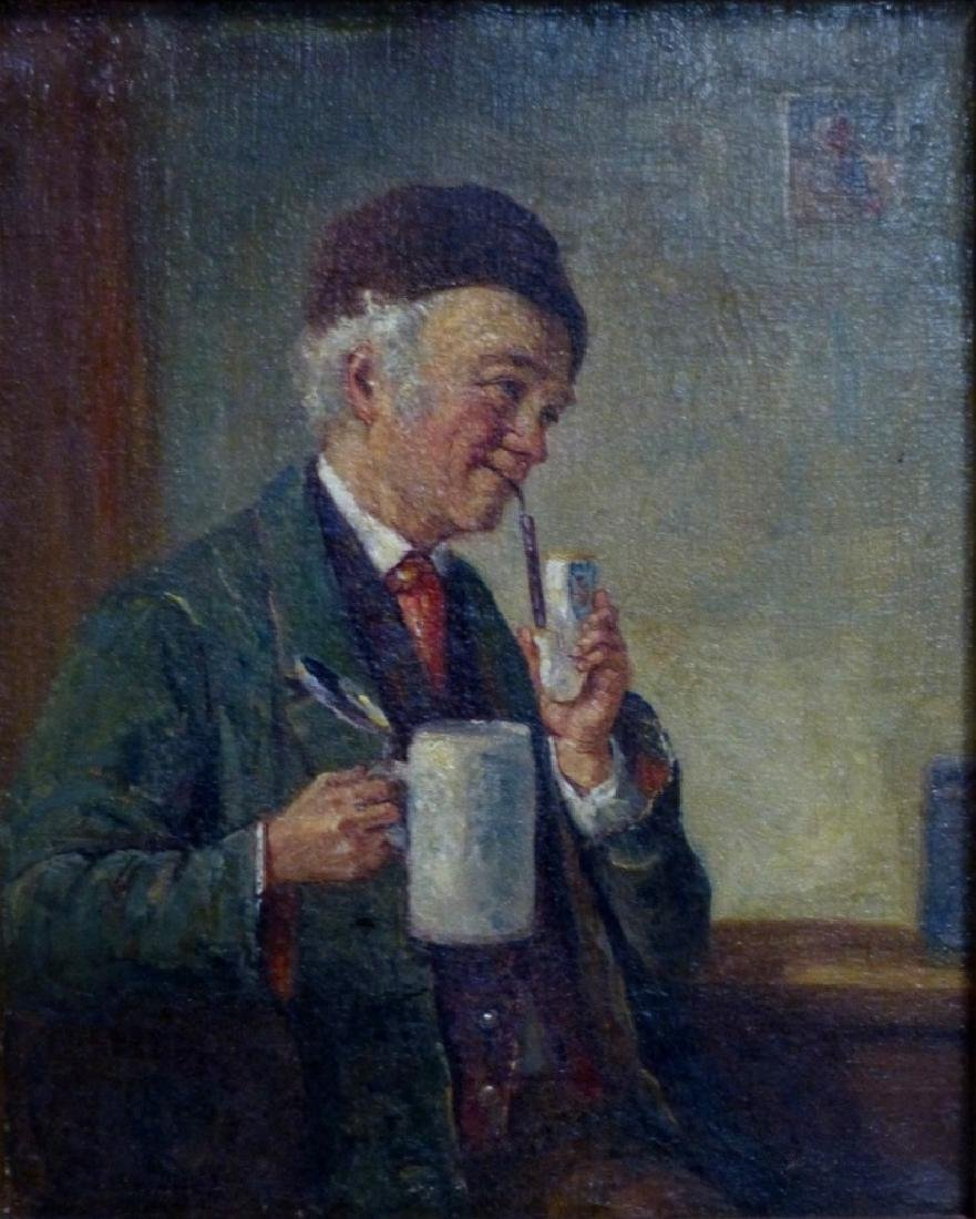 GERMAN OIL PAINTING ON CANVAS MAN w PIPE & STEIN - 2