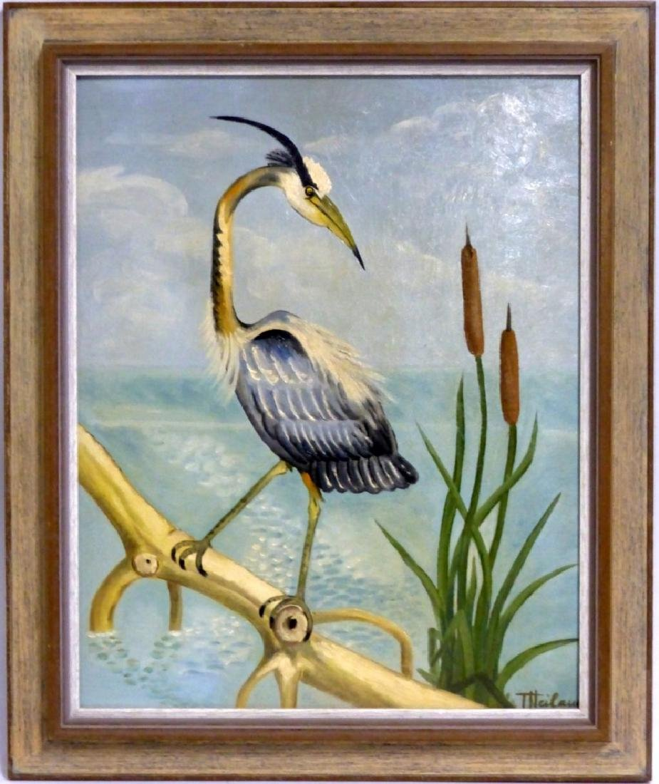 GERTRUDE HEILAUD OIL PAINTING ON BOARD OF CRANE