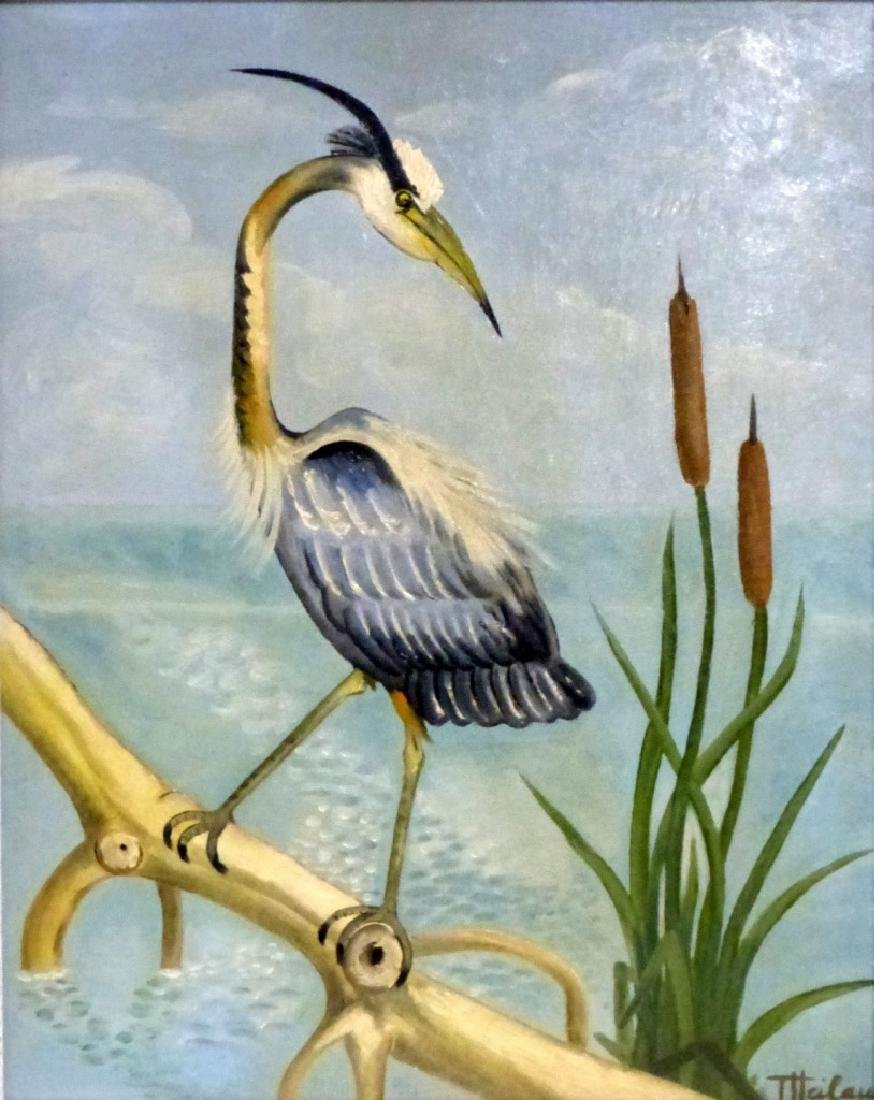 GERTRUDE HEILAUD OIL PAINTING ON BOARD OF CRANE - 2