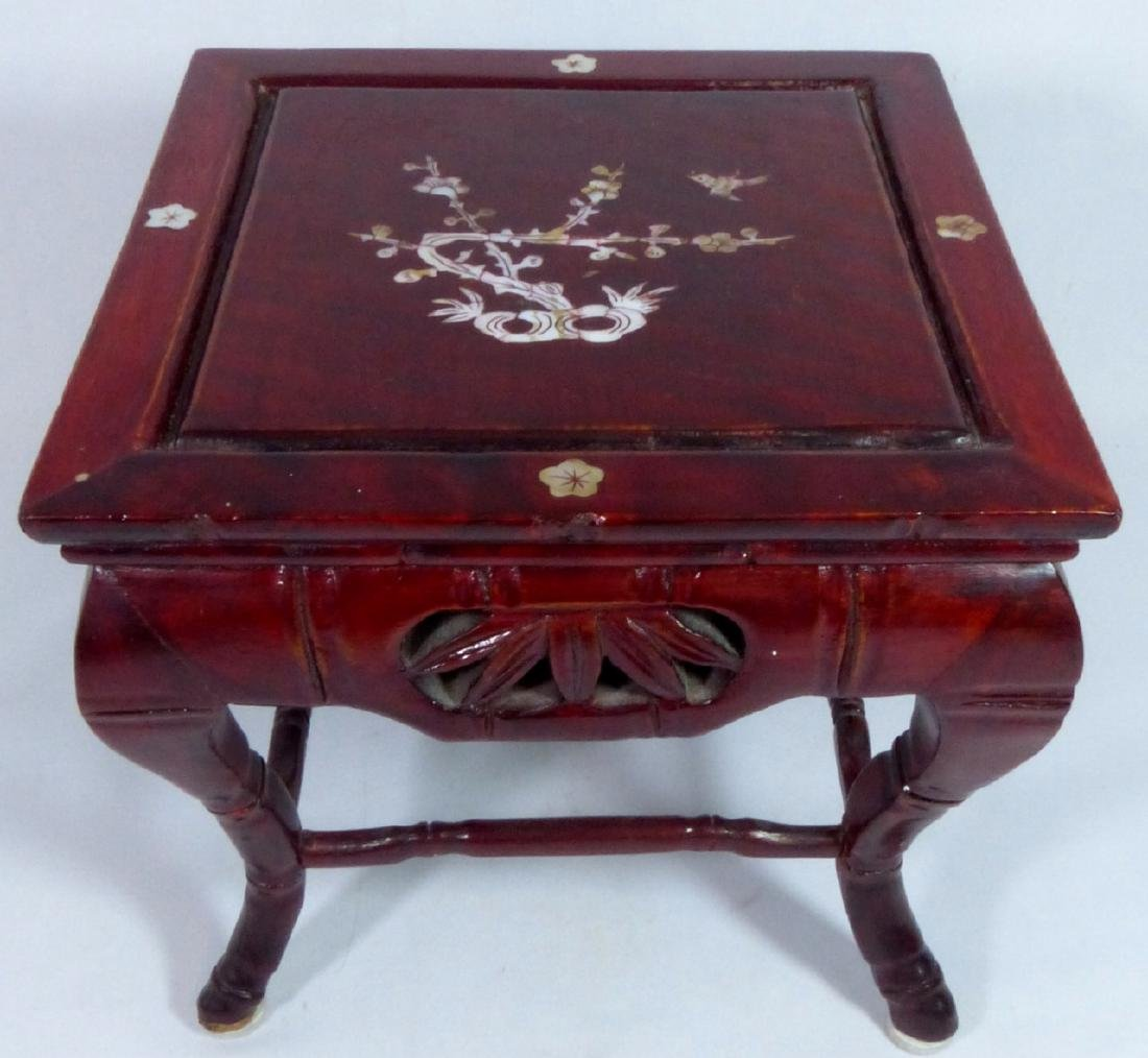 CHINESE ROSWEOOD STAND w MOTHER OF PEARL INLAY