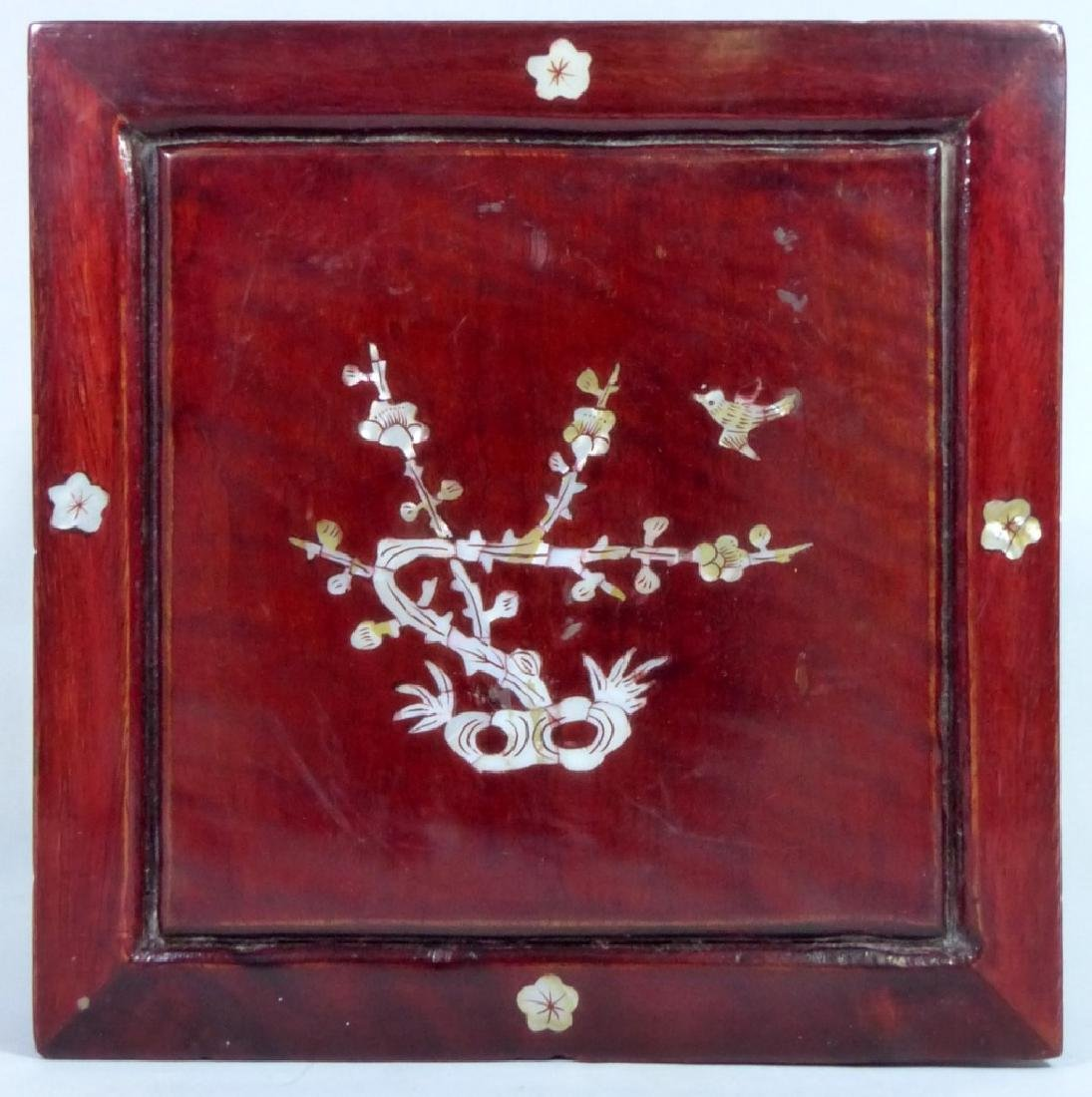 CHINESE ROSWEOOD STAND w MOTHER OF PEARL INLAY - 3