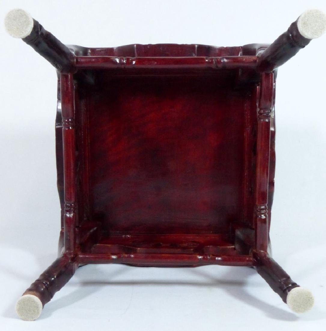 CHINESE ROSWEOOD STAND w MOTHER OF PEARL INLAY - 4