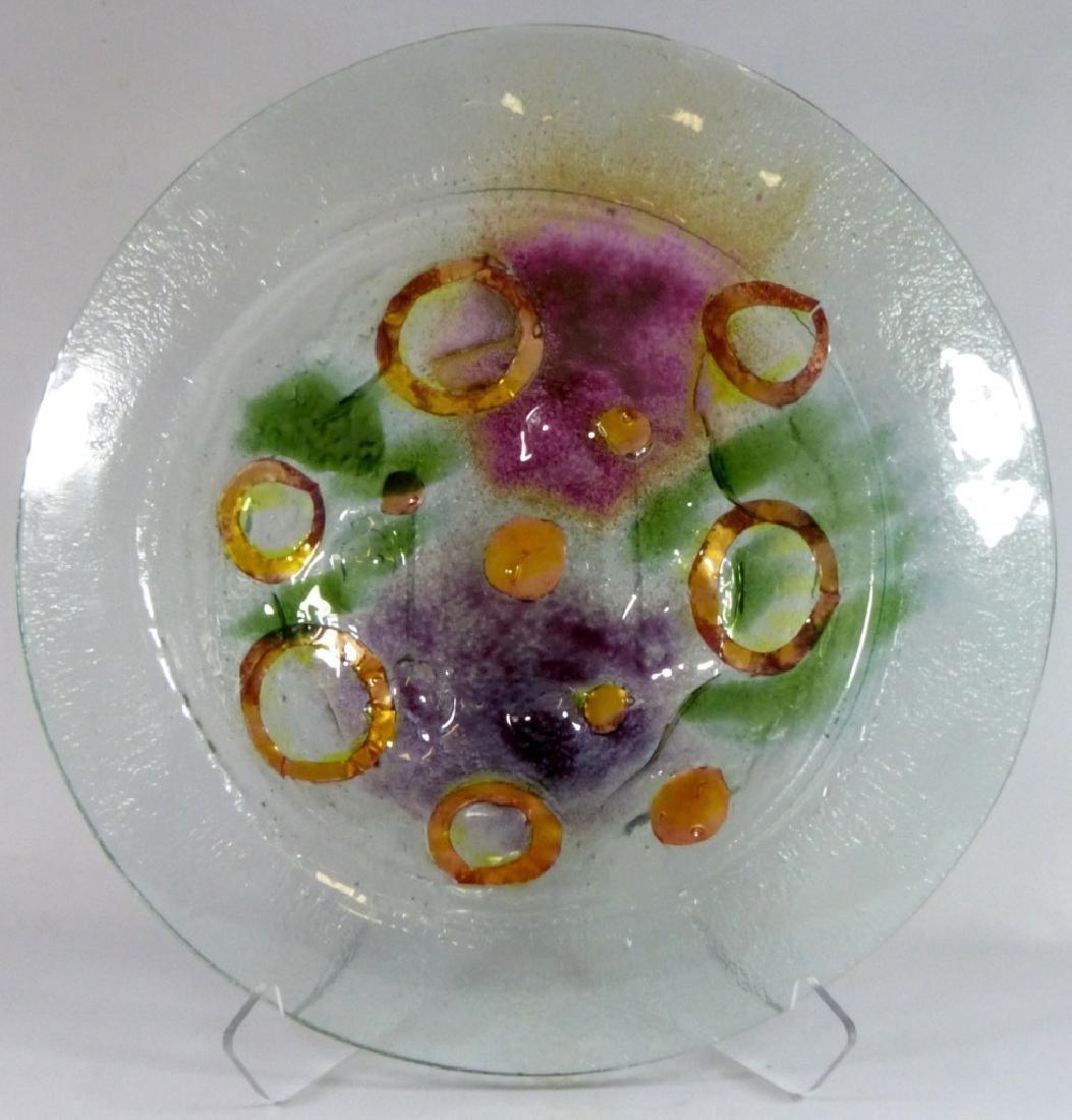 MODERN ART GLASS CHARGER / LARGE BOWL