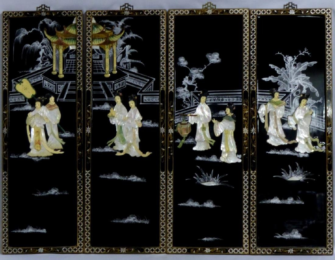 4pc CHINESE BLACK LACQUER MOTHER OF PEARL PLAQUES