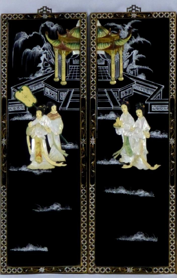 4pc CHINESE BLACK LACQUER MOTHER OF PEARL PLAQUES - 2