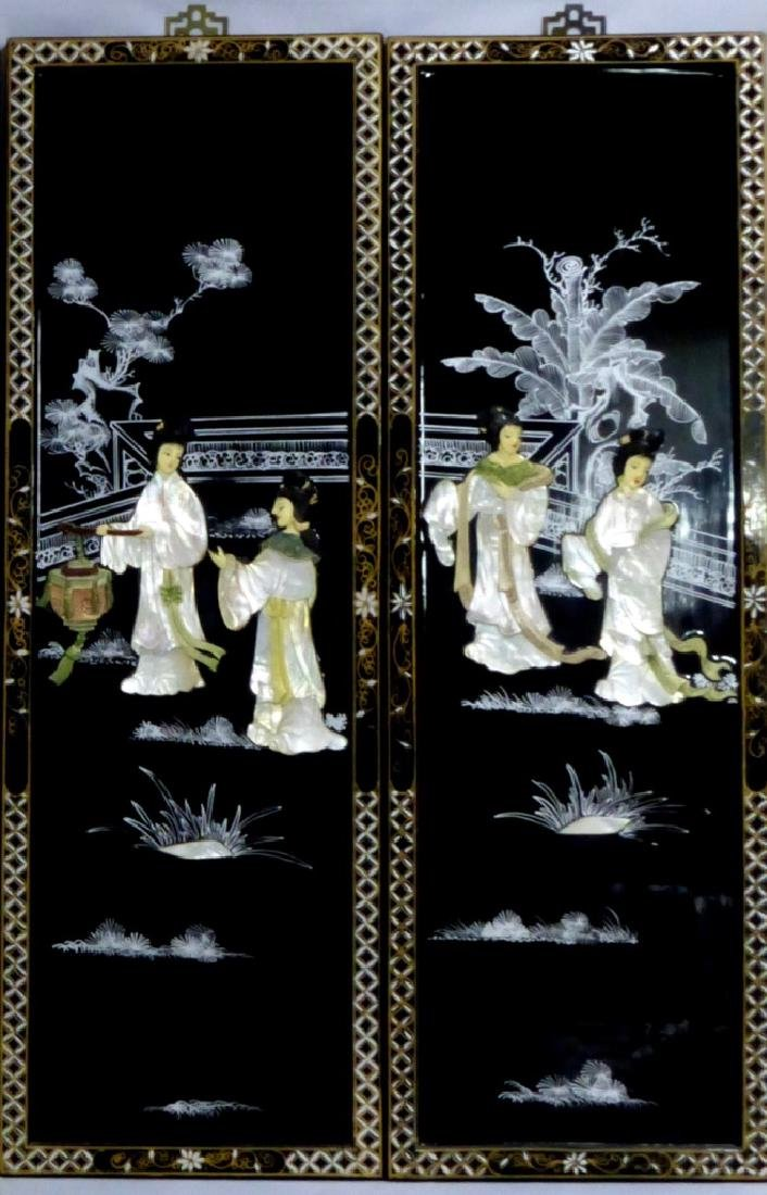 4pc CHINESE BLACK LACQUER MOTHER OF PEARL PLAQUES - 3